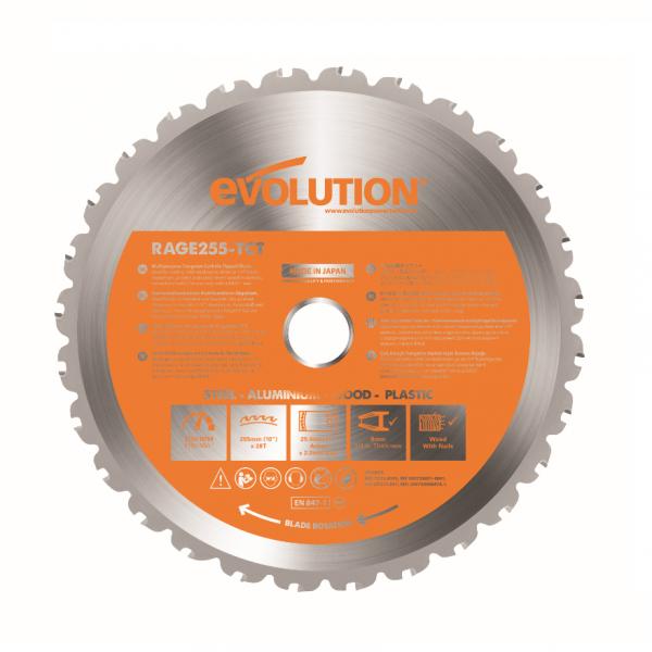 Disc pentru fierastrau circular, taiere multifunctionala Evolution EVORAGEBLADE255MULTI-1374, O255 x 25.4 mm, 28 dinti casaidea.ro