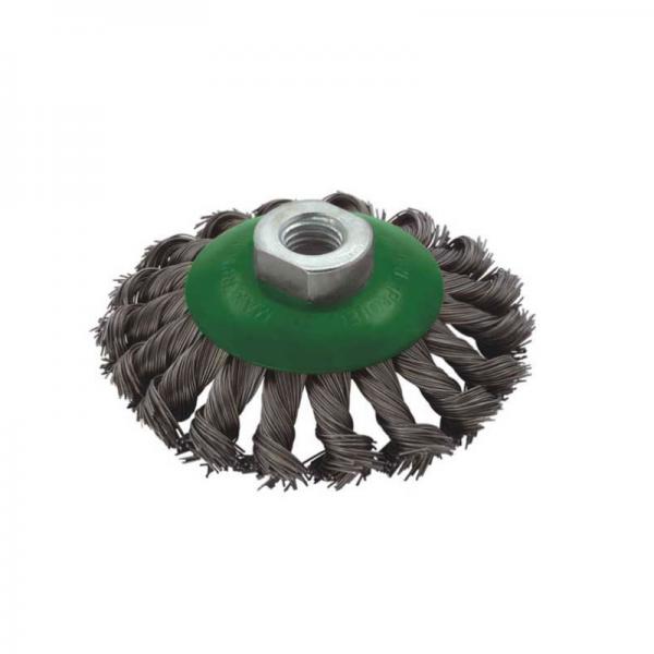 Perie de sarma conica cu fir rasucit Troy T27705-100, 100 mm M14 casaidea.ro