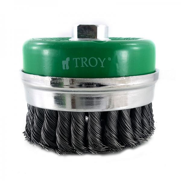 Perie de sarma tip cupa cu fir rasucit Troy T27708-75, 75 mm [1]
