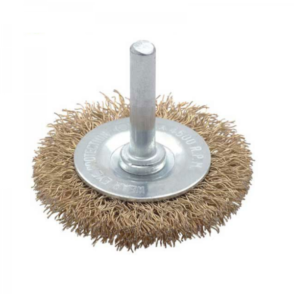 Perie de sarma circulara cu tija Troy T27703-75, 75 mm 0