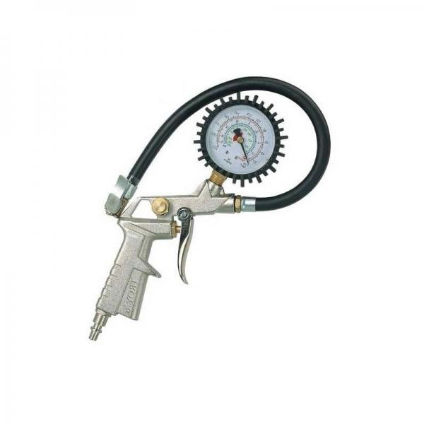 Pistol pentru umflarea anvelopelor cu manometru Troy T18604, 10 bari 2
