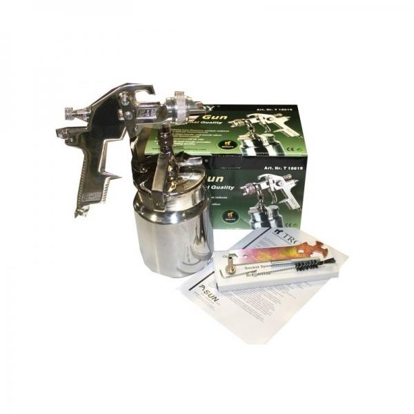 Pistol de vopsit cu aer comprimat alimentare prin suctiune Troy T18619, 1000 ml, Ø1.8 mm [1]