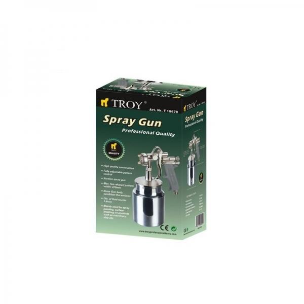 Pistol de vopsit cu aer comprimat alimentare prin suctiune Troy T18678, 1000 ml, Ø1.8mm [1]