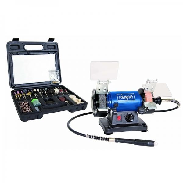 Polizor de banc pentru lustruire HG34 Scheppach SCH5903106901, 120 W, 9900 rpm + cutie de accesorii casaidea.ro
