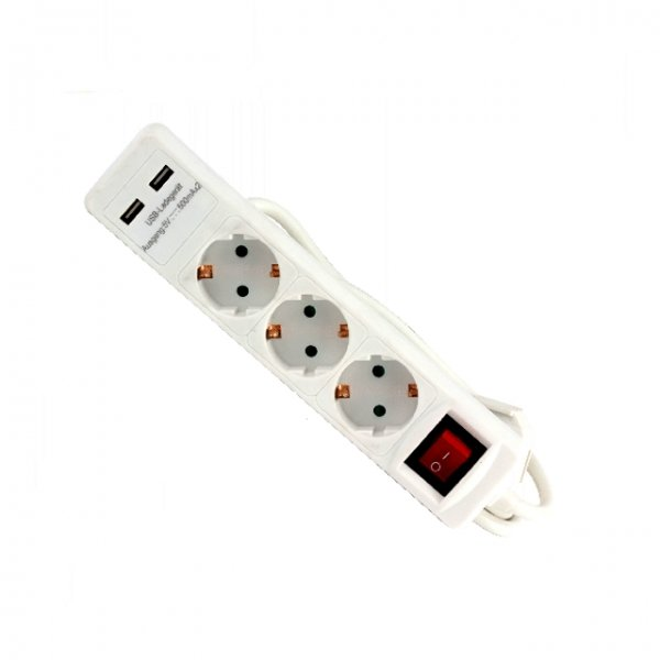 Prelungitor electric cu 3 prize si 2 porturi USB Troy T24023, 1.4 m casaidea.ro
