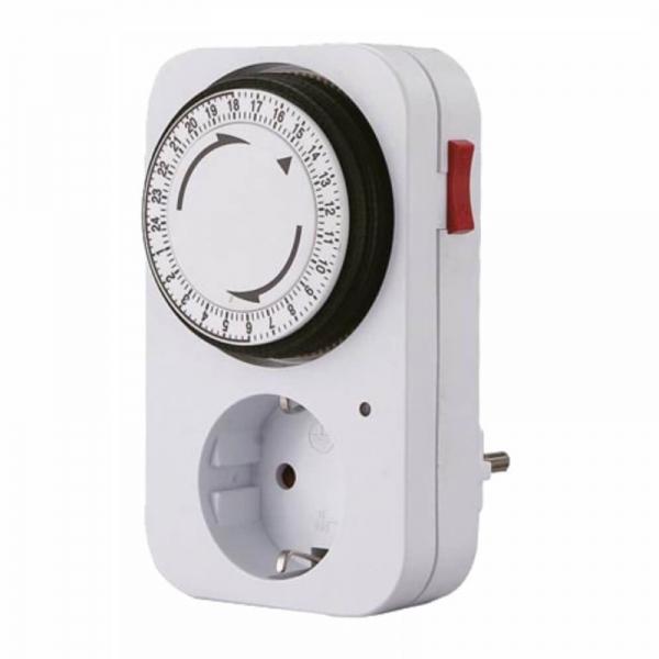 Adaptor priza programabila mecanic 24 ore Perel PRLE305DM-G, 3680 W, 16 A casaidea.ro