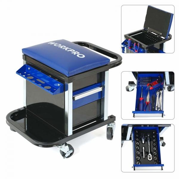 Scaun mobil cu compartiment pentru scule Workpro HGSW009039, 136 piese 1