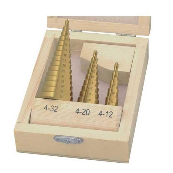 Set burghie conice acoperite cu titan pentru tabla Wert W3500, Ø4-32 mm, 3 piese [0]