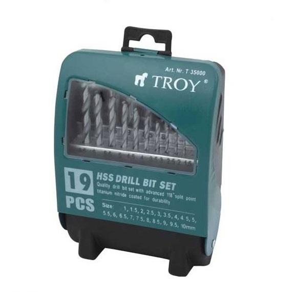 Set burghie HSS pentru metal Troy T35000, Ø1-10 mm, 19 piese 0