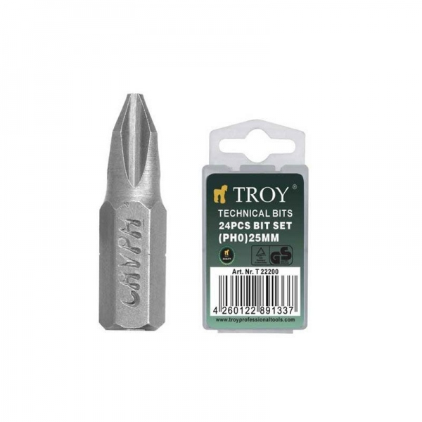 Set de biti Troy T22200, PH0, 25 mm, 24 bucati 0