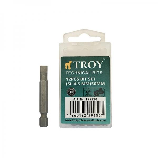 Set de biti drepti Troy T22226, SL4.5, 50 mm, 12 bucati 0