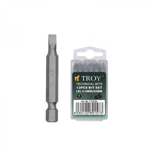 Set de biti drepti Troy T22227, SL5, 50 mm, 12 bucati casaidea.ro