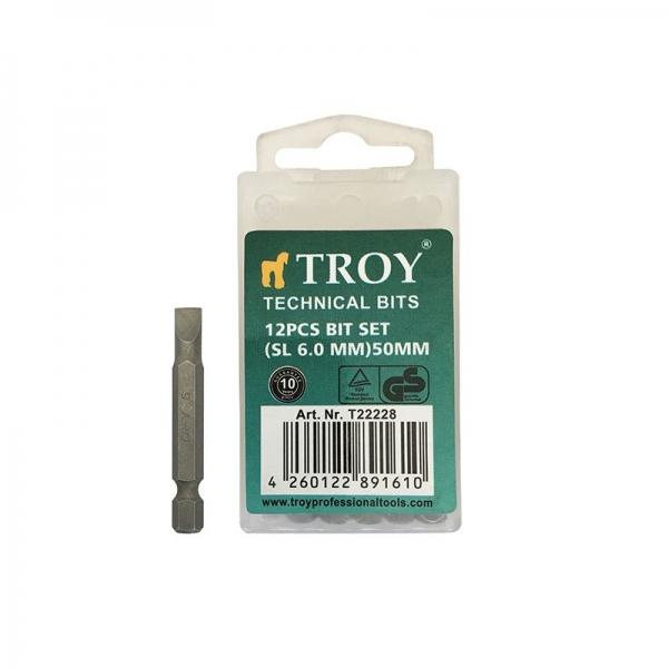 Set de biti drepti Troy T22228, SL6, 50 mm, 12 bucati casaidea.ro
