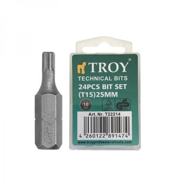 Set de biti torx Troy T22214, T15, 25 mm, 24 bucati imagine 2021 casaidea.ro