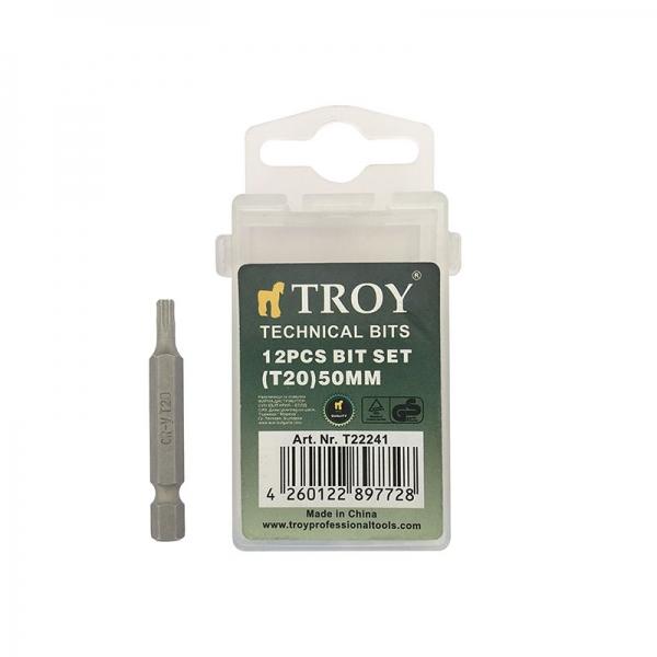 Set de biti Torx (T 20x50mm) Cr V 10 piese TROY
