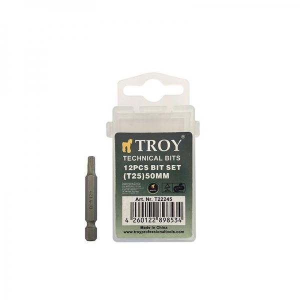 Set de biti torx Cr-V Troy T22245, T25, 50 mm, 10 bucati imagine 2021 casaidea.ro