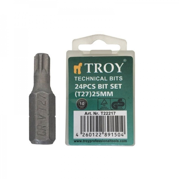 Set de biti torx Troy T22217, T27, 25 mm, 24 bucati casaidea.ro