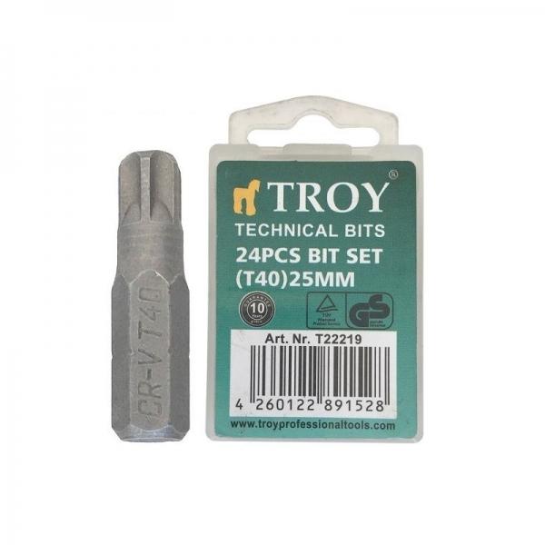 Set de biti Torx (T 40 x 25 mm) 24 piese TROY
