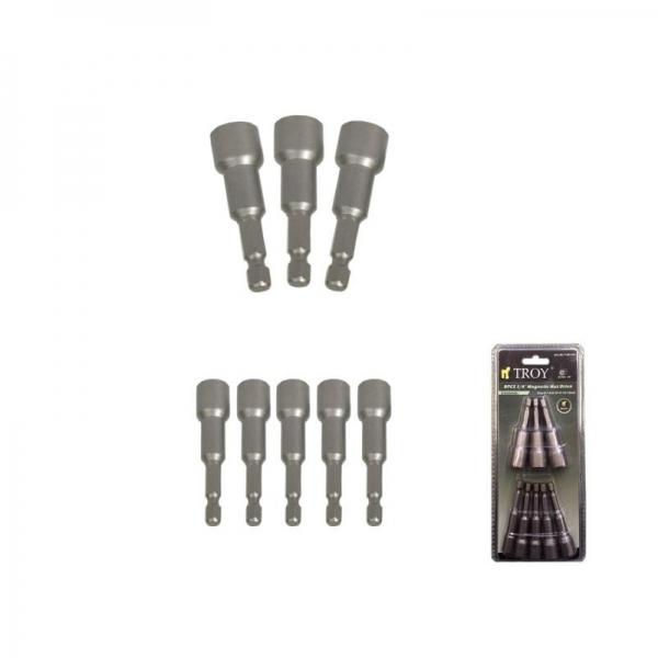 Set de suporti magnetici pentru biti cu prindere de 1 4 Troy T26133 8 piese