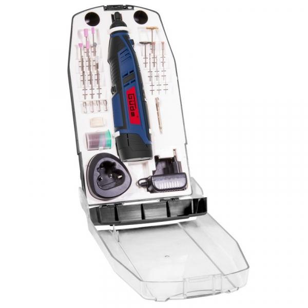 Set mini-polizor cu acumulator si accesorii HSS12-131-04B Guede GUDE58610, 12 V, 25000 rpm, 45 piese poza casaidea 2021