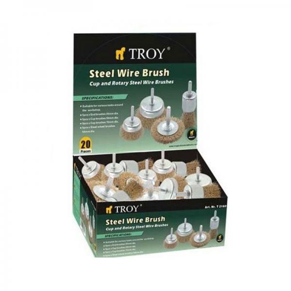 Set perii de sarma circulare si tip cupa cu tija Troy T27700, 25-75 mm, 20 piese 0