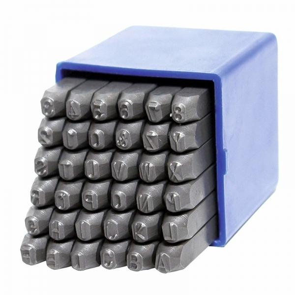 Trusa de poansoane cu litere si cifre Dema DEMA18052, 4 mm, 36 piese casaidea.ro
