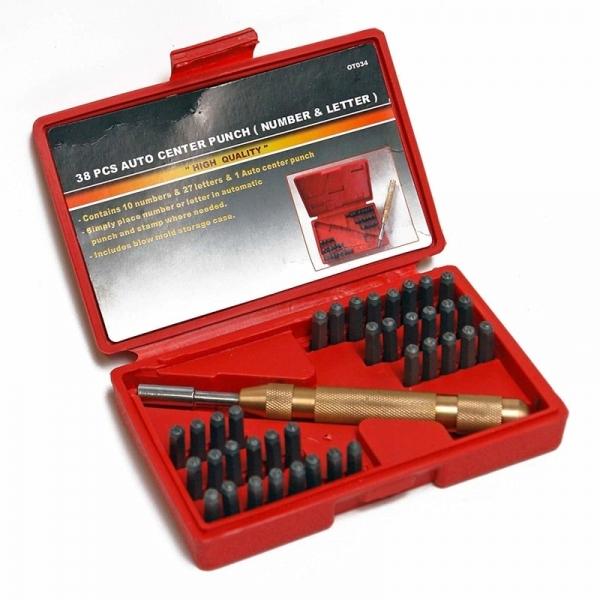 Trusa de poansoane cu litere si cifre cu perforator Dema DEMA18506, 4 mm, 38 piese casaidea.ro