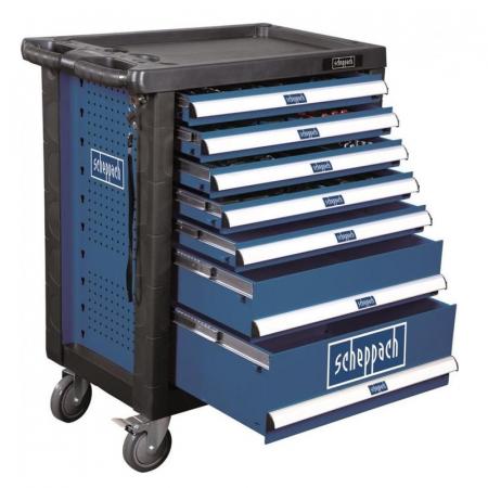 Carucior portabil cu scule TW1000 Scheppach SCH5909304900, 7 sertare, 263 piese0