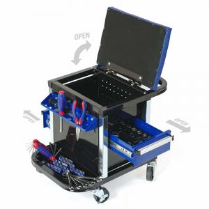 Scaun mobil cu compartiment pentru scule Workpro HGSW009039, 136 piese2