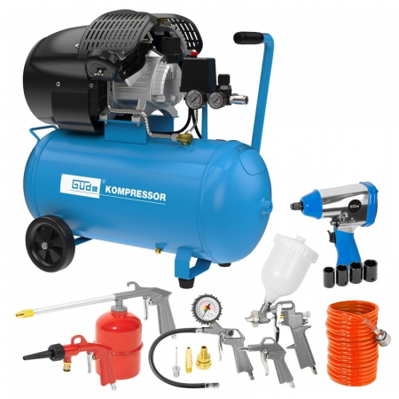 Set compresor cu doi cilindri 405/10/50 Guede GUDE71177, 2200 W, 50 l, 10 bari, 15 piese [0]