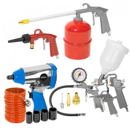 Set compresor cu doi cilindri 405/10/50 Guede GUDE71177, 2200 W, 50 l, 10 bari, 15 piese [1]