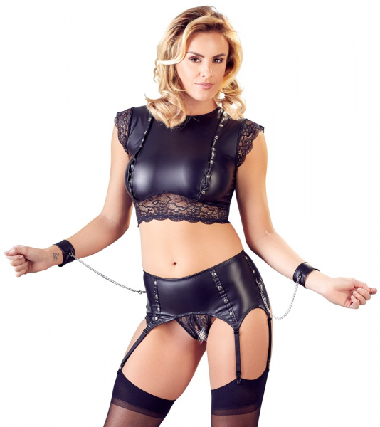 Top and Crotchless Suspender Briefs 0
