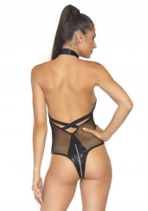 Black X-Strap Fishnet Teddy Intimates1
